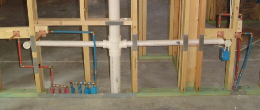 Plumbing in the walls for New construction plumbing rough in