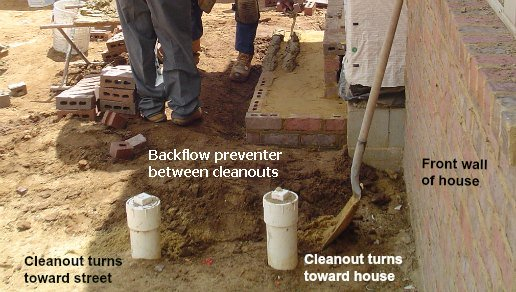 Double cleanouts for city sewer